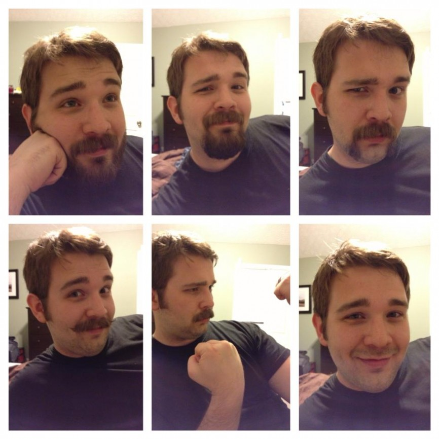 Steve in various stages of mustache