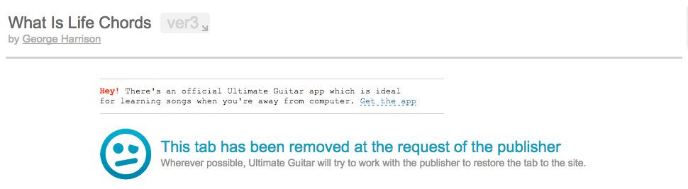 """This tab has been removed"" screen on Ultimate-Guitar.com"