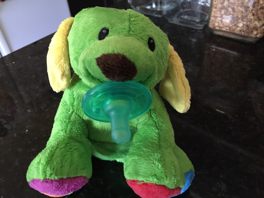 A pacifying plush puppy, holding a pacifier