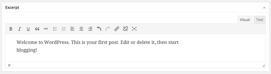 "The ""Post Excerpt"" meta box on the WordPress edit screen with Advanced Post Excerpt active."